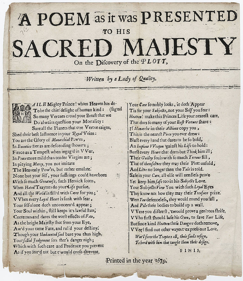 A Poem to his Sacred Majesty on the Plot written by a Lady of Quality 1679.jpg