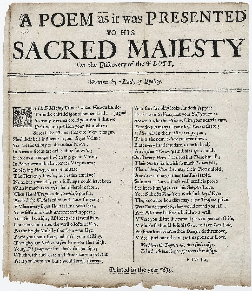 A Poem to his Sacred Majesty on the Plot written by a Lady of Quality 1679