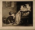 A loyal dog puts his paw on the lap of a sick girl holding f Wellcome V0015127.jpg