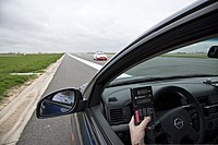 A radar detector measures the incoming Belgian Federal Police patrol car as the Belgian police and the United States Army Garrison Benelux Provost Marshall Office calibrate their speedometers at Chievres Air 130419-A-BD610-161.jpg