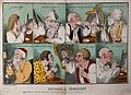 A sequence of eight images showing men shaving. Coloured etc Wellcome V0019740.jpg
