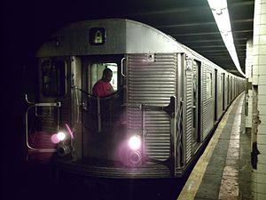 A (New York City Subway service) - A train made of R32 cars in A service at Hoyt–Schermerhorn Streets, bound for Brooklyn and Queens.