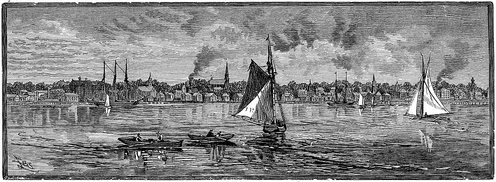 A view of Bristol RI from the harbor. 1886 engraving.