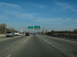 Interstate 90 in Illinois - The Jane Addams Tollway in Schaumburg prior to the 2015-16 rebuild/widen.