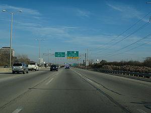 Interstate 90 in Illinois - The Jane Addams Tollway in Schaumburg prior to the 2015-16 rebuild/widen.