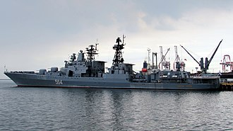 Russian destroyer Admiral Tributs - Image: Admiral Tributs Side View