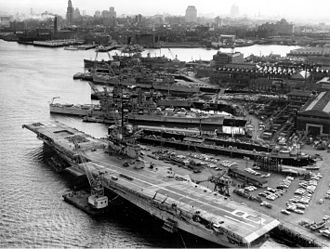 Boston Navy Yard - Aerial view of the Boston Navy Yard in April 1960.