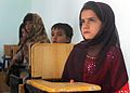 Afghan girls and students of the newly opened Shar-e Sara Girls School wait for an eye examination from a coalition forces' ophthalmologist in Zabul province, Afghanistan, Sept 110913-N-AT856-035.jpg