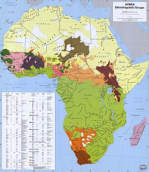 Urheimat - Map showing the distribution of the major language families represented in Africa.