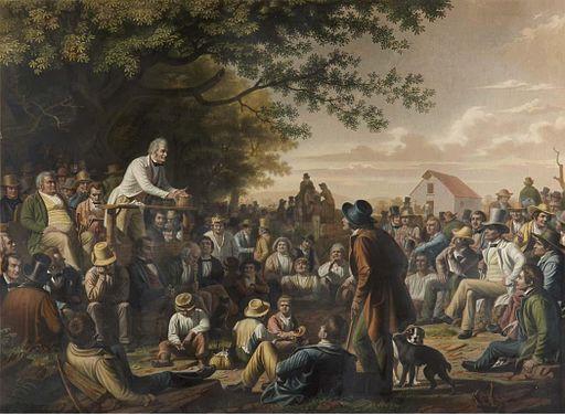 After George Caleb Bingham - Stump Speaking (engraving, 1886)