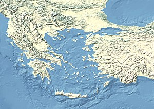 Siege of Sardis (547 BC) is located in the Aegean Sea area