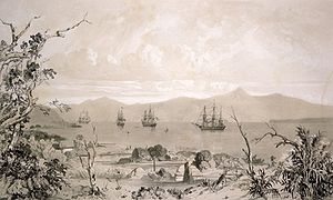 South Island - Ships in what is likely to be Akaroa Harbour some time in the early 19th century.