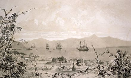 Ships in what is likely to be Akaroa Harbour some time in the early 19th century. Akaroa Harbour Ships And Whare.jpg