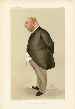 """Albert Rollit - """"municipal corporations"""". Caricature by Spy published in Vanity Fair in 1886."""