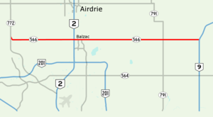 Alberta Highway 566 - Image: Alberta Highway 566 Map