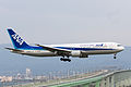 All Nippon Airways, NH978, Boeing 767-381(ER), JA612A, Arrived from Qingdao, Kansai Airport (17197394925).jpg