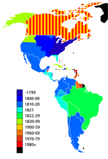 Map showing the dates of independence from European powers. Black signifies areas that are dependent territories or parts of countries with a capital ...