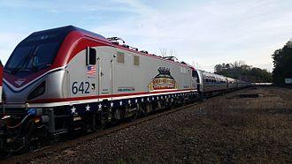 Amtrak paint schemes - ACS-64 No. 642 in the Veterans scheme in 2016