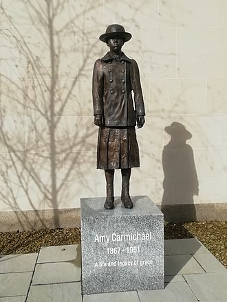 Amy Carmichael - This is the bronze statue of Amy Carmichael as a young girl that stands in Hamilton Street in Bangor, County Down, Northern Ireland, on the grounds of the Presbyterian church.