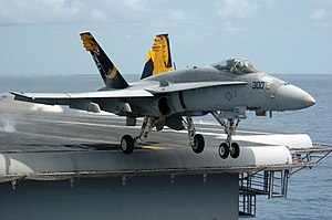F/A-18 Hornet during takeoff