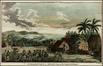 Third voyage of James Cook - A hand-coloured lithograph depicting a village visited by Captain James Cook near Waimea, Kauai, on his third voyage. Based on a 1778 etching by John Webber which was published by William Hodges, it is one of the few views of Hawaii made during Cook's third voyage (1776–1779).