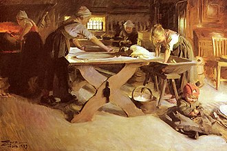 Baking - Anders Zorn - Bread baking (1889)