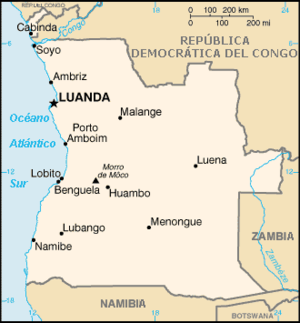 Map in French of Angola