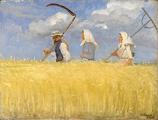 <i>Harvesters</i> (Ancher) painting by Anna Ancher