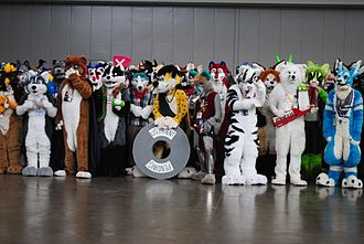 Fursuit - A large group of 'fursuiters', furries who wear fursuits, at Anthrocon 2010.
