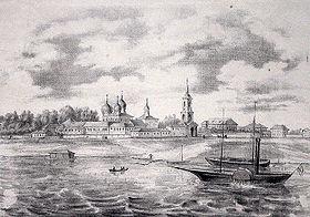 Вид Новгородского Антониева монастыря. Литография напечатана в Санкт-Петербурге в 1860 году. (wikipedia.org)