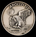 Space-flown Apollo 11 Robbins medallion presented to Wally Schirra by Neil Armstrong
