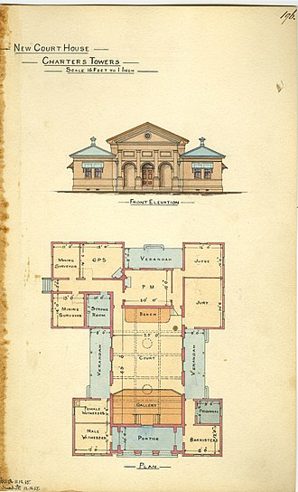 Charters Towers Courthouse - Architectural drawing of the new Court House, Charters Towers, 1885