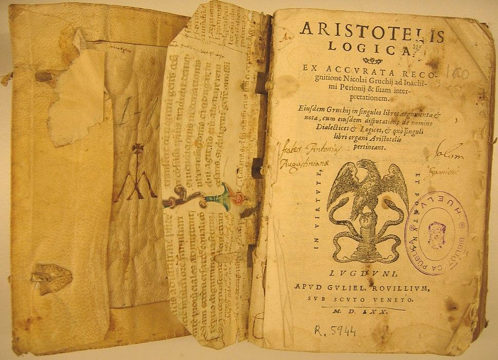 Aristoteles Logica 1570 Biblioteca Huelva