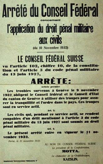 Geneva fusillade of 9 November 1932 - Decree of the Federal Council on applying penal military law to civilians (10 November 1932)