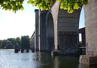 two parallel railway bridges between Årsta and Södermalm in Stockholm, Sweden