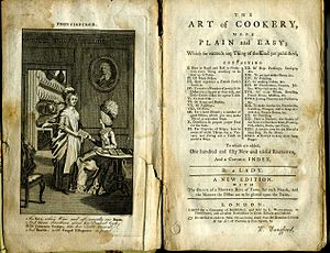 The Art of Cookery made Plain and Easy - Frontispiece and title page in an early posthumous edition, published by L. Wangford, c. 1777