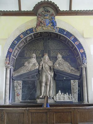 Eggesford - Monument to two first wives of Arthur Chichester, 1st Earl of Donegall (1606-1674/5), Eggesford Church, Devon, south wall of nave