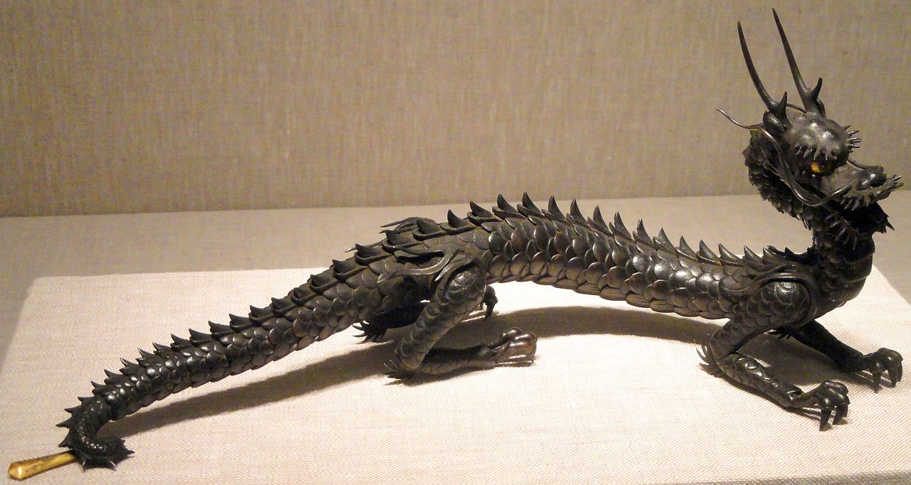 Wrought Iron Artwork Filearticulated Dragon C1880 Myochin School Japan Wrought
