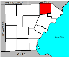 Location of Ash Township within Monroe County