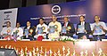 Ashok Gajapathi Raju Pusapati releasing a book, at the inauguration of the Conference on Strategies for Indigenous Development of Civil & Military Aircraft, as part of the 65th AGM of AeSI.jpg