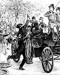 François Salson versucht, Mozaffar al-Din Schah Qajar von Persien in Paris zu ermorden. Diese Zeichnung erschien in La vie illustré am 2. August 1900