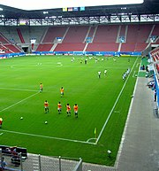 Augsburg Stadium U-20 Women 2010 Southern Stand and warm-up before Nigeria-Japan