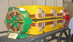Storage ring - Different types of magnets used in the storage ring of the Australian Synchrotron. The larger yellow one is a dipole magnet used to bend the electron beam and produce the synchrotron radiation. The green one is a sextupole magnet and the red one (behind the dipole) is a quadrupole magnet which are used for focusing and to maintain chromaticity respectively.