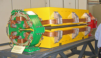 Dipole magnet - The larger yellow electromagnet shown here is a dipole magnet used to bend the electron beam and produce synchrotron radiation at the Australian Synchrotron