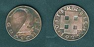 Austrian 2 Groschen coin, 1925