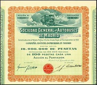 Tilling-Stevens - Share of the S.G. de Autobuses de Madrid, issued 14. September 1922; it shows a petrol-electric Tilling-Stevens bus