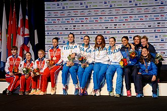 2014 European Fencing Championships - Podium of the women's team foil: Italy, Russia, and France