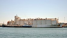 A livestock carrier receiving bunkers from a bunker vessel in Fremantle Harbour, Australia