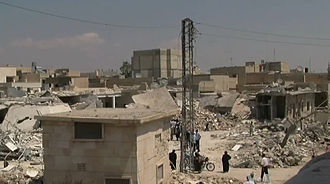 2012 Aleppo Governorate clashes - Image: Azaz Syria during the Syrian Civil War Wide Angel of Damage