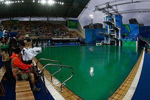 Diving at the 2016 Summer Olympics - Image: BRITÂNICOS VENCEM E BRASILEIROS TERMINAM EM ÚLTIMO NO TRAMPOLIM DE 3M SINCRONIZADO DOS SALTOS ORNAMENTAIS (28795084412)